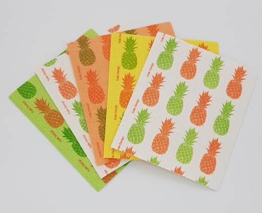 Designer-Schwammtuch (1x Pack mit 5 Stk.) -Ananas-