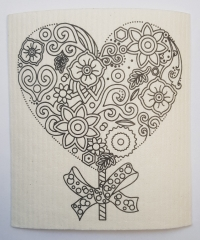 Sponge cloth for coloring -heart- 1 piece